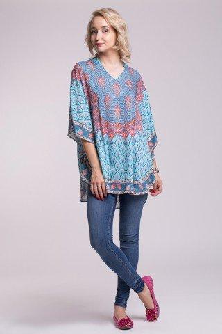 Bluza vaporoasa tip poncho cu imprimeu etnic si guler tip tunica