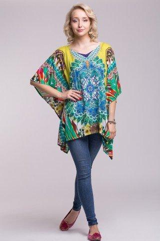 Bluza matasoasa tip poncho multicolor cu imprimeu etnic