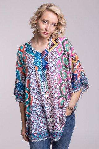 Poncho vaporos cu guler tip tunica si imprimeu geometric multicolor