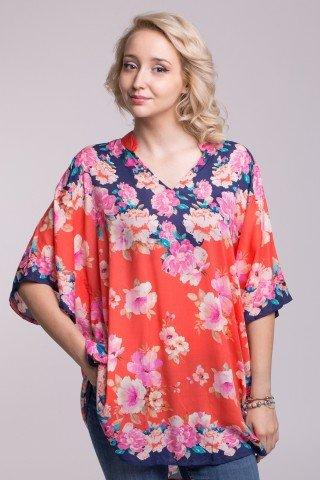 Poncho cu imprimeu floral si guler tip tunica