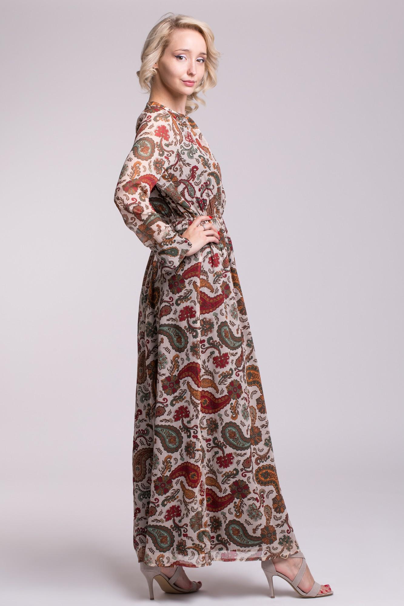 Rochie eleganta lunga cu impriemeu paisley si spate decupat