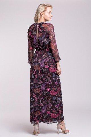 Rochie eleganta neagra cu imprimeu paisley si captuseala