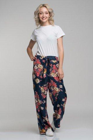 Pantaloni bleumarin cu imprimeu floral multicolor