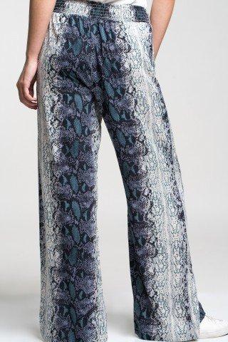 Pantaloni vaporosi cu imprimeu piele de sarpe