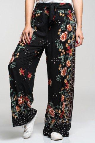 Pantaloni negri vaporosi cu cordon si imprimeu floral