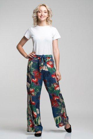 Pantaloni albastri cu imprimeu multicolor exotic si cordon in talie
