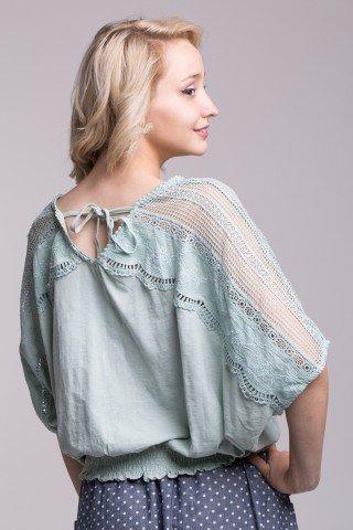 Bluza casual oversize cu dantela pe maneci