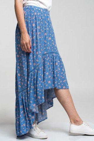 Fusta asimetrica albastra cu imprimeu floral
