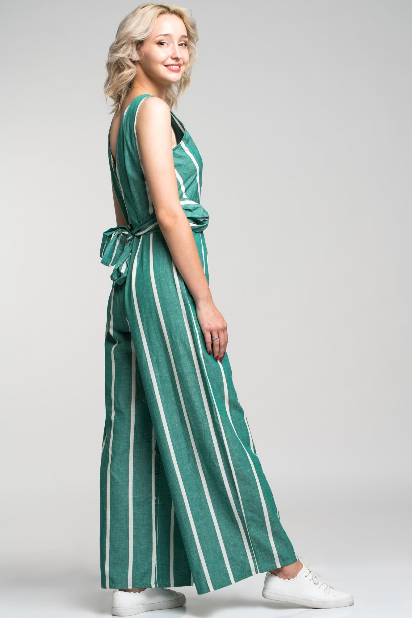 Salopeta verde din in cu dungi albe si cordon in talie