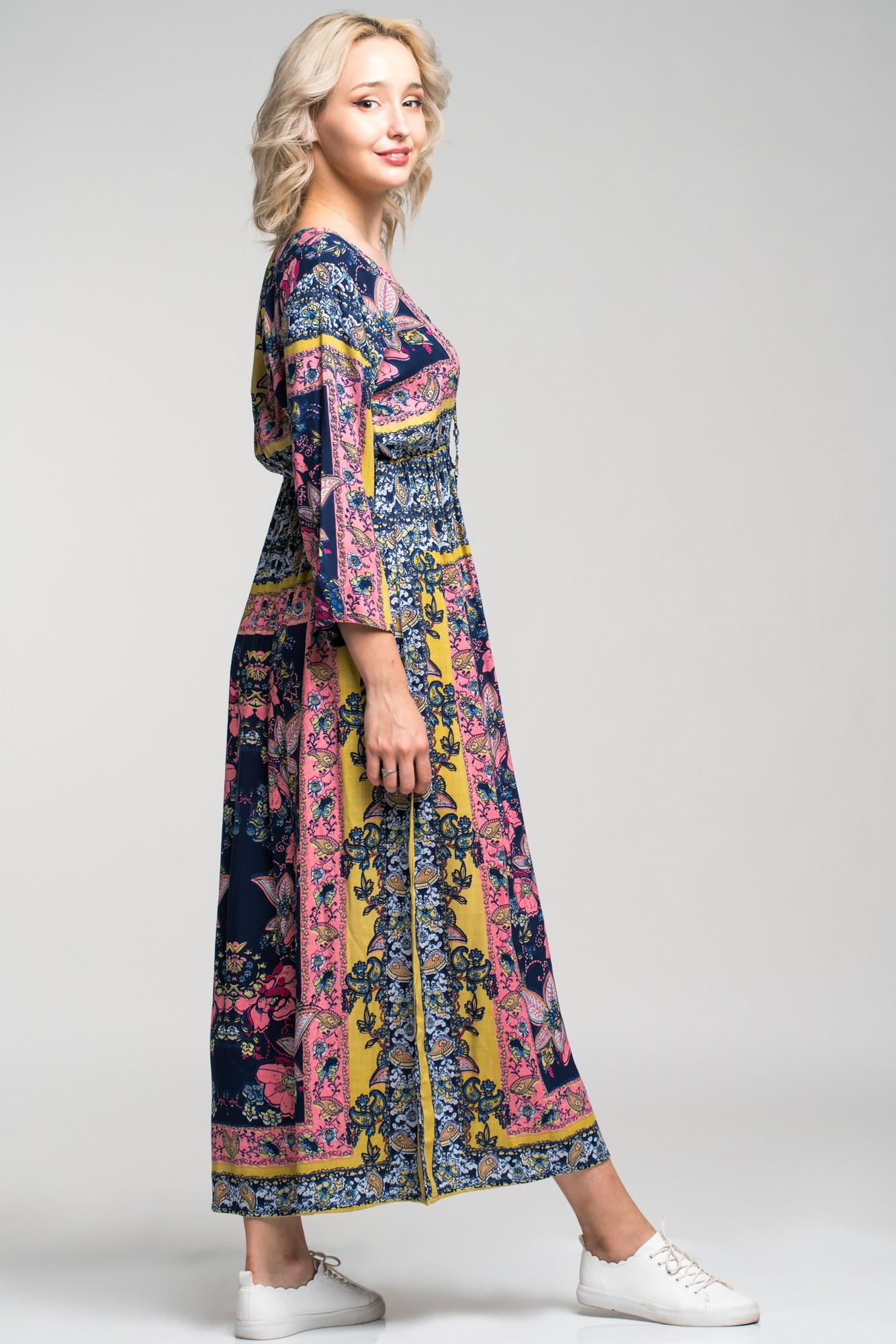 Rochie lunga boho cu imprimeu etnic Angy