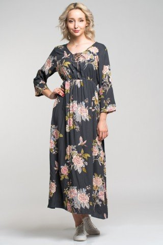 Rochie vascoza lunga cu imprimeu floral boho Angy