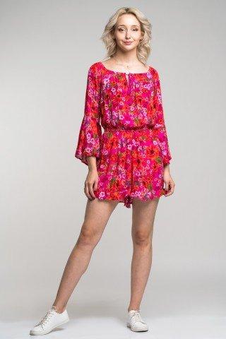 Salopeta rosie cu pantaloni scurti si imprimeu floral