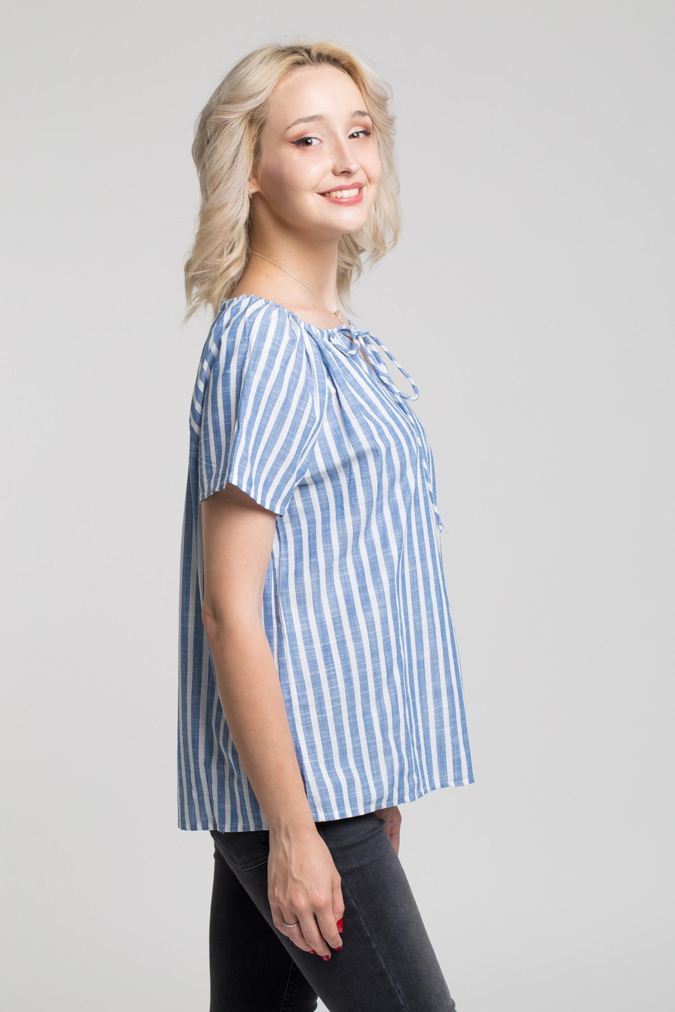 Bluza casual dungi alb-albastre