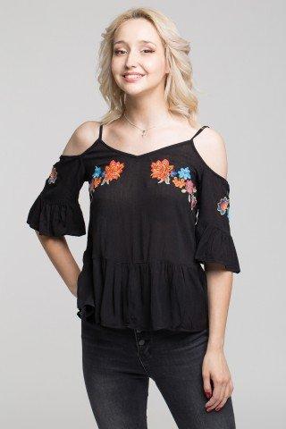 Bluza neagra cu decupaje si broderie multicolora