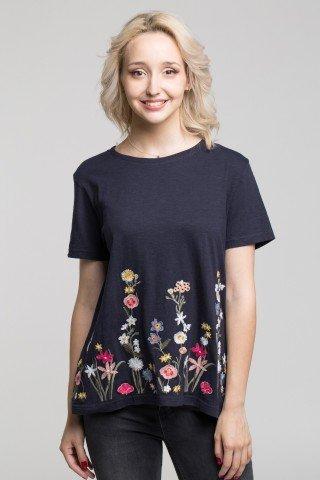 Tricou negru cu broderie florala multicolora
