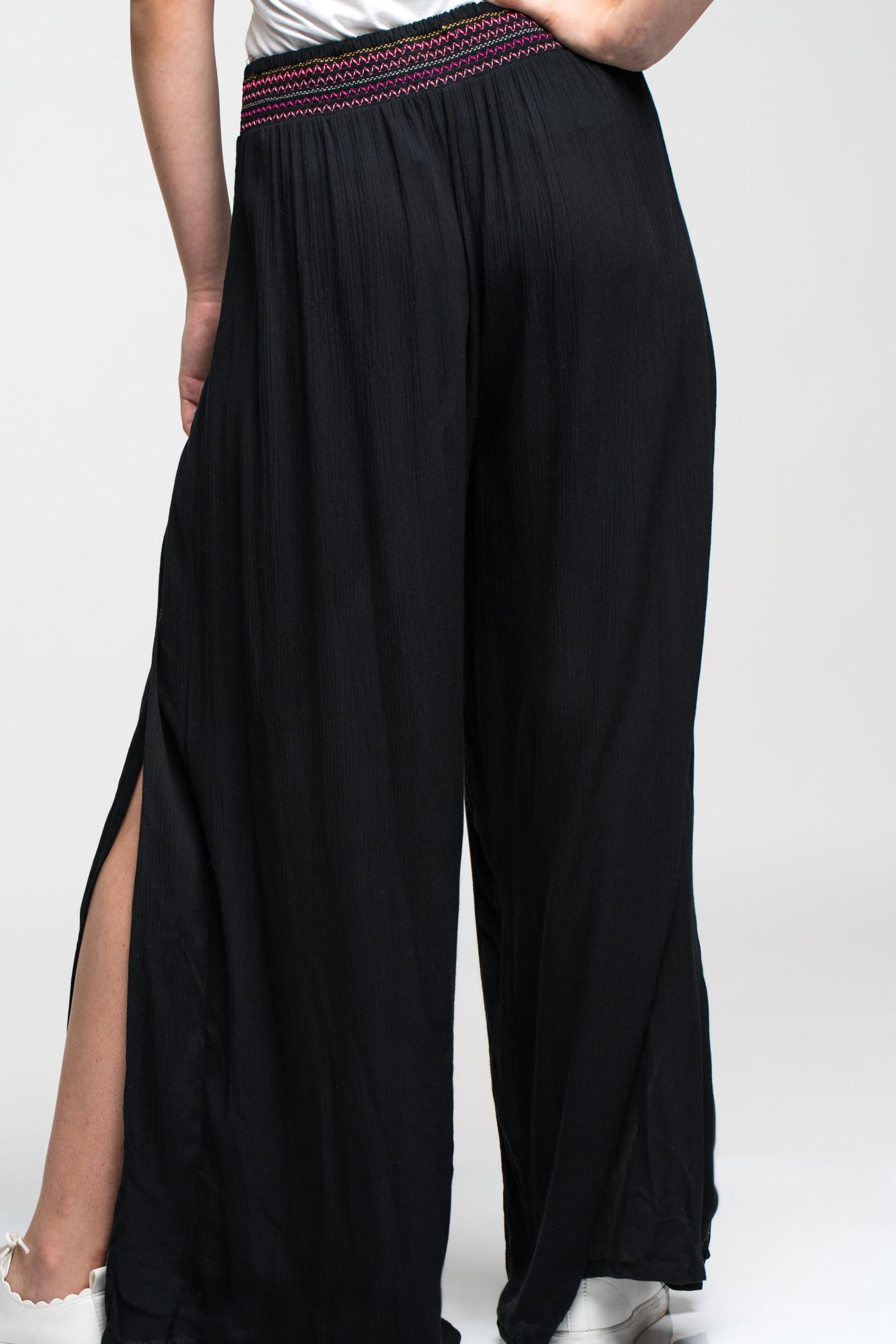 Pantaloni fusta negri despicati cu banda elastica multicolora