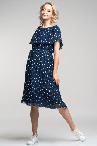 Rochie plisata bleumarin cu buline si volan