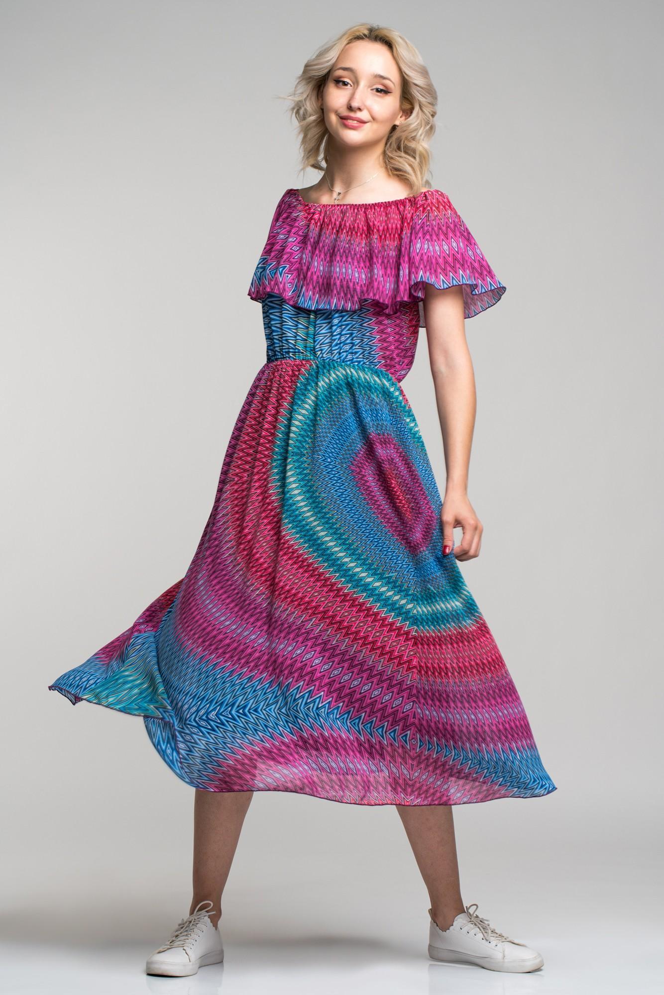 Rochie vaporoasa cu imprimeu multicolor si volan