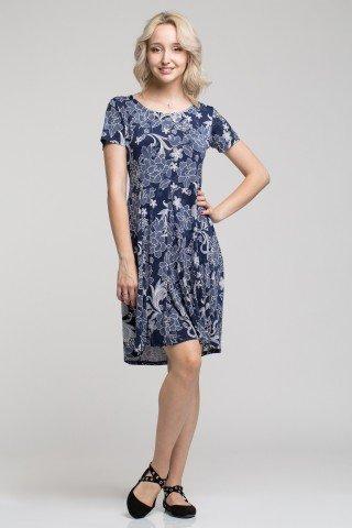 Rochie albastra maneca scurta si imprimeu floral