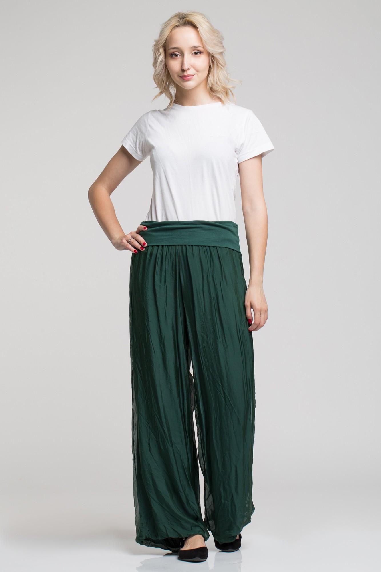 Pantaloni largi verde inchis din matase