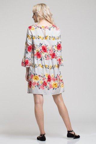 Rochie vascoza lejera cu imprimeu floral multicolor si maneci cu volane