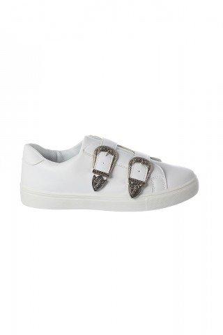 Pantofi albi cu catarame