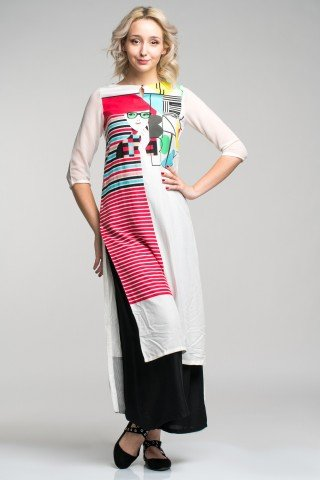 Tunica lunga vascoza tip khurta cu imprimeu multicolor Urban-Chic