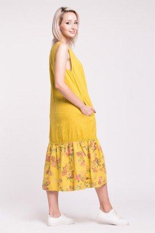 Rochie galbena din in cu buzunare si volan cu imprimeu floral