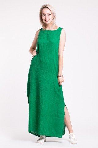 Rochie larga verde din in fara maneci cu slituri laterale