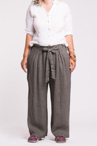 Pantaloni kaki din in cu cordon in talie si buzunare laterale