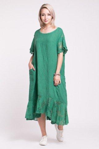 Rochie verde din in cu volan si maneci din dantela