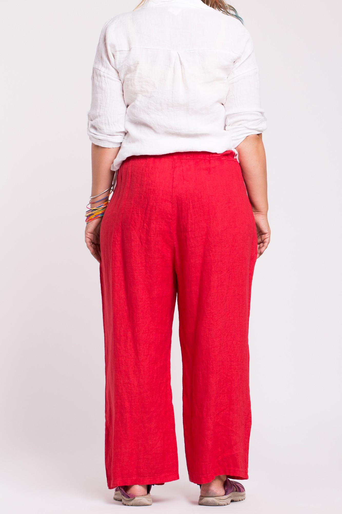 Pantaloni lejeri rosii din in cu elastic si cordon in talie