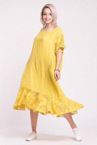 Rochie din in galben cu maneci si volan din dantela