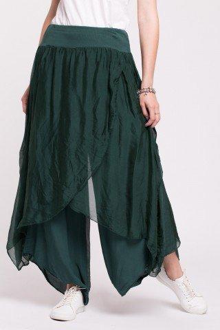Pantaloni tip lalea din matase verde inchis cu talie elastica