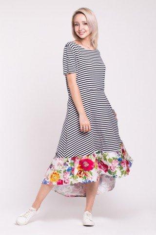 Rochie asimetrica in dungi cu buzunare si bordura cu impriemeu floral