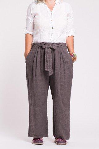 Pantaloni gri lejeri din in cu talie elastica si buzunare