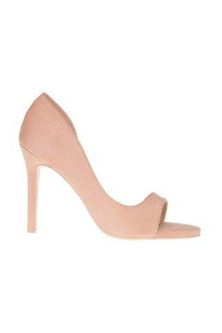 Sandale roz pudra cu aspect catifelat