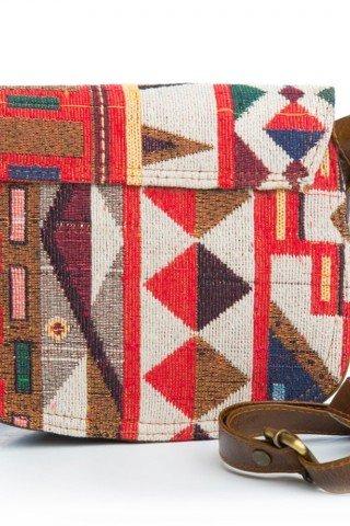 Geanta de umar din piele cu motive geometrice multicolore si inchizatoare vintage