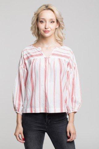 Bluza alba cu dungi rosii maneci bufante