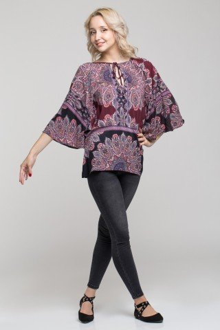 Bluza vaporoasa cu maneci kimono si imprimeu etnic