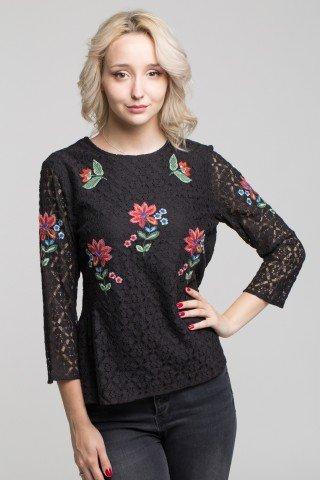 Bluza din dantela neagra cu broderie florala multicolora