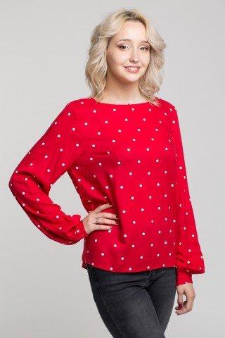 Bluza rosie cu buline albe si nasturi pe spate