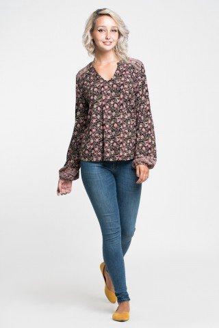 Bluza asimetrica vaporoasa cu imprimeu floral