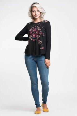 Bluza neagra cu broderie multicolora si spate cu clin din voal