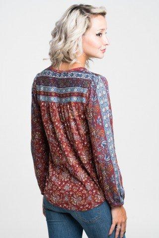 Bluza cu imprimeu de inspiratie etnica si snur cu ciucuri