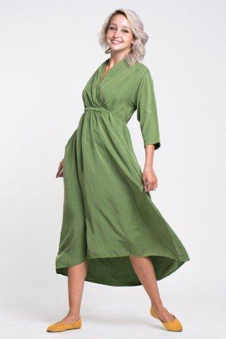 Rochie asimetrica midi verde deschis cu buzunare, snur in talie si guler