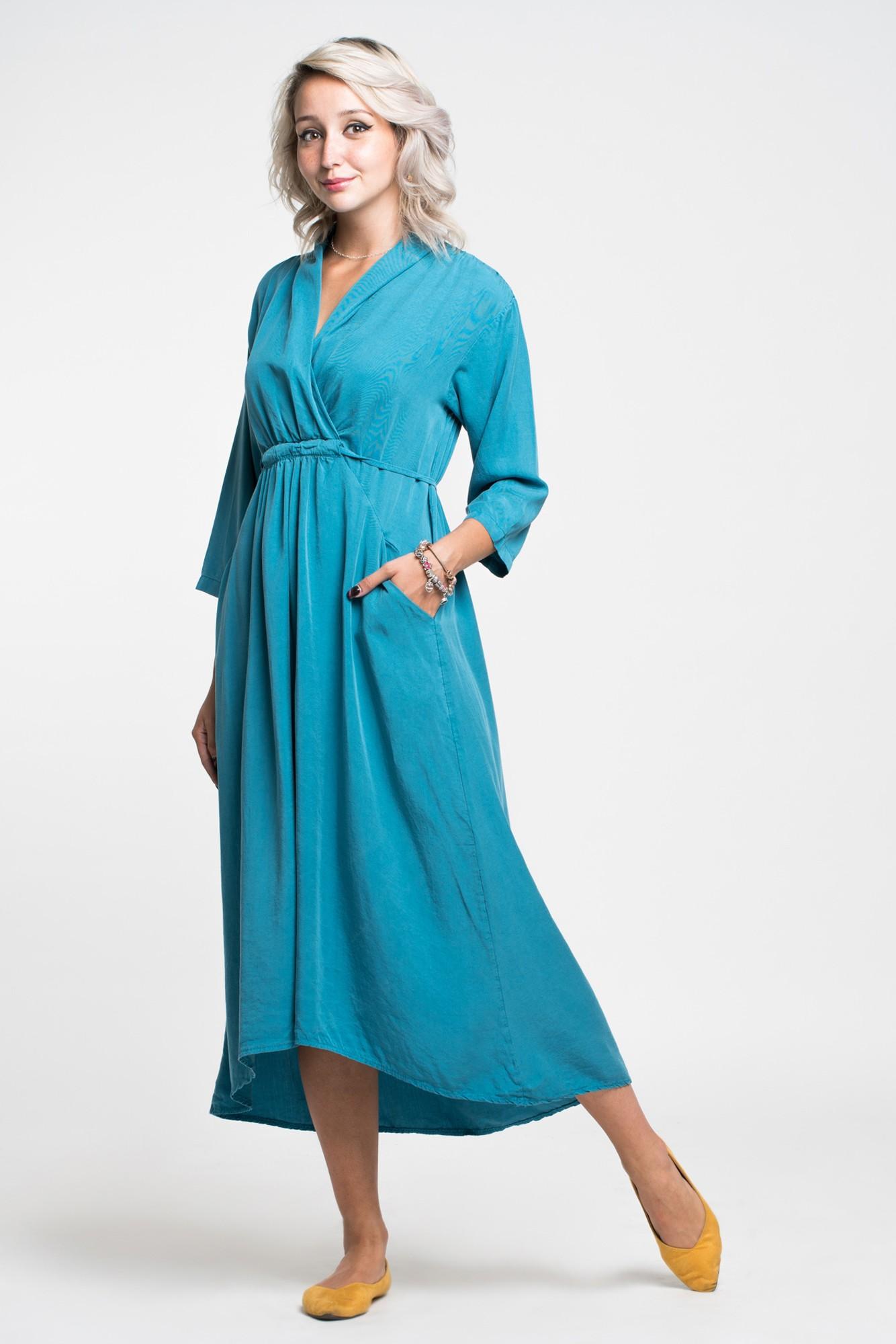 Rochie bleu midi cu snur reglabil in talie, guler si buzunare