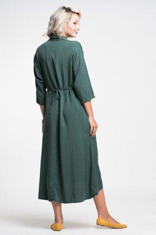 Rochie midi verde inchis din vascoza matasoasa cu snur reglabil