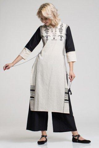 Costum traditional indian alb/negru cu slituri laterale si snururi cu ciucuri