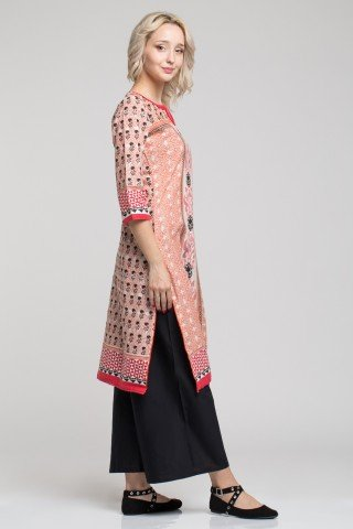 Costum traditional indian cu tunica multicolora cu slituri laterale